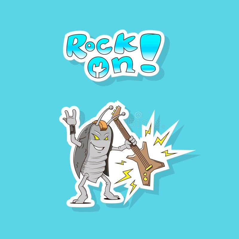 Sticker van de beeldverhaal de eenvoudige strippagina van tuimelschakelaarkakkerlak met gitaar royalty-vrije illustratie