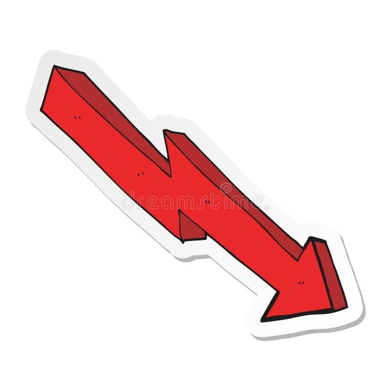 sticker van een beeldverhaalpijl onderaan tendens vector illustratie