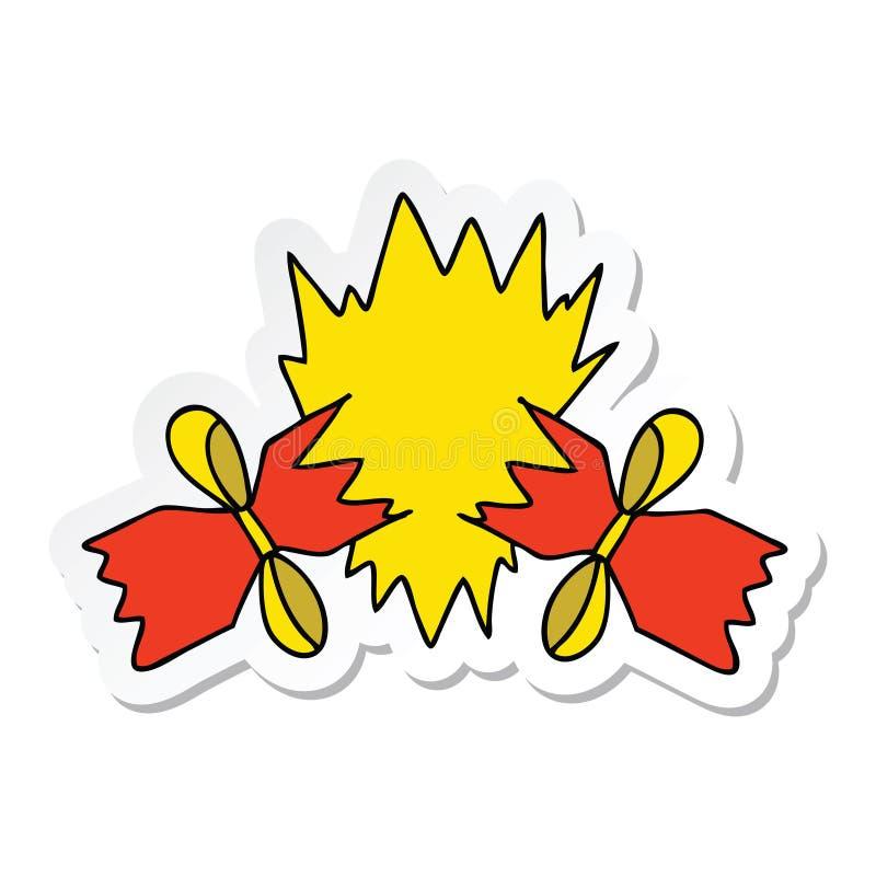 sticker van een originele hand getrokken beeldverhaal getrokken cracker vector illustratie