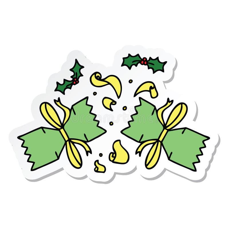 sticker van een originele hand getrokken beeldverhaal geknalde cracker stock illustratie