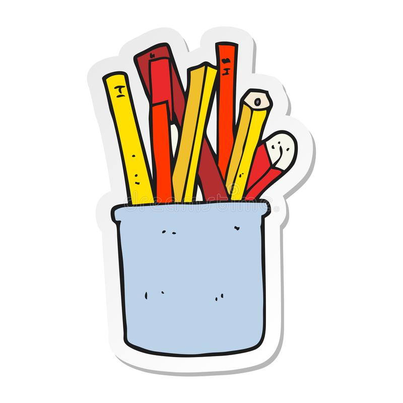 sticker van een pot van het beeldverhaalbureau van potloden en pennen vector illustratie