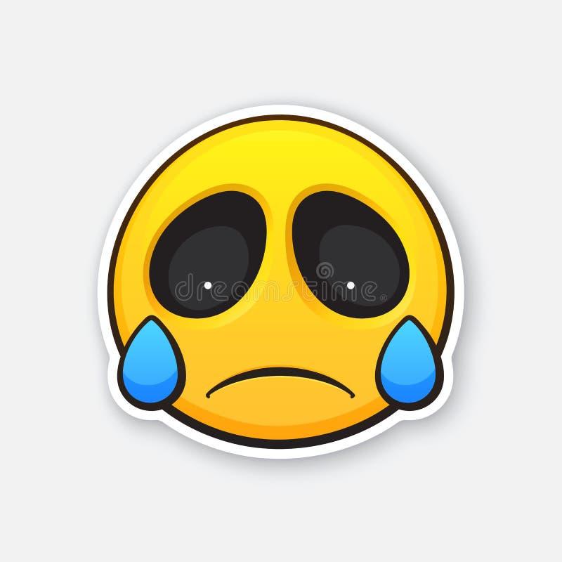 Sticker van emoticon voor het uitdrukken van emotie van droefheid, teleurstelling en het schreeuwen vector illustratie