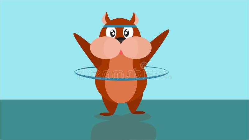 Sticker voor boodschapper app met pretdieren De hamster draait de Hoepel vector illustratie