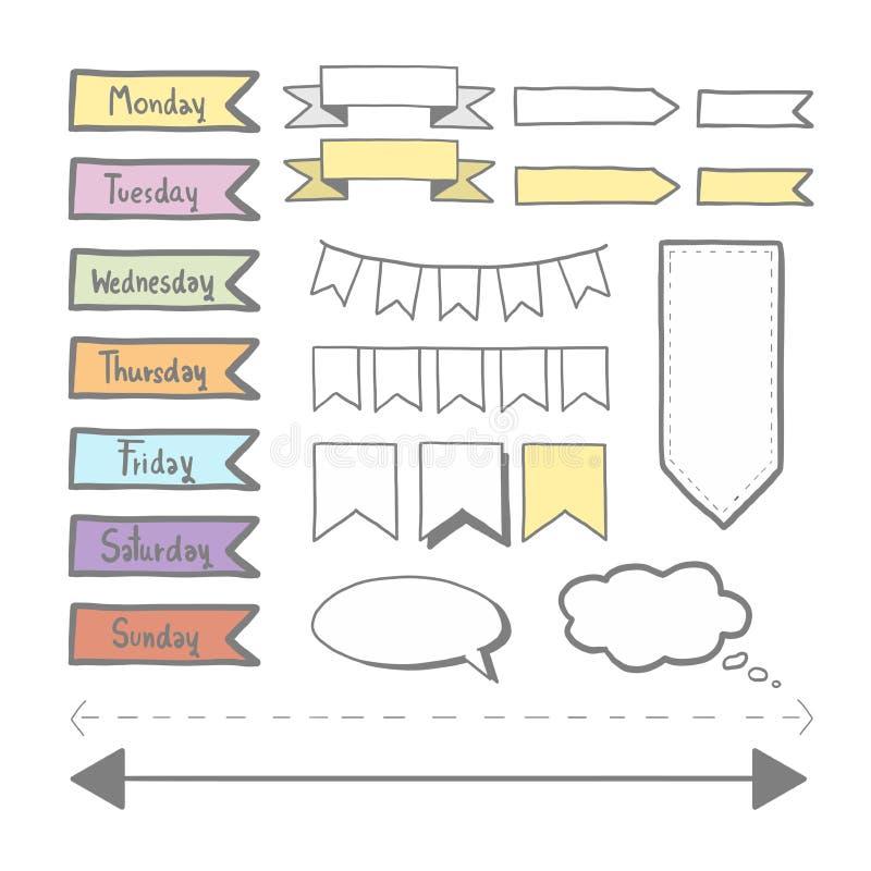 Sticker voor ontwerper wordt geplaatst die stock illustratie