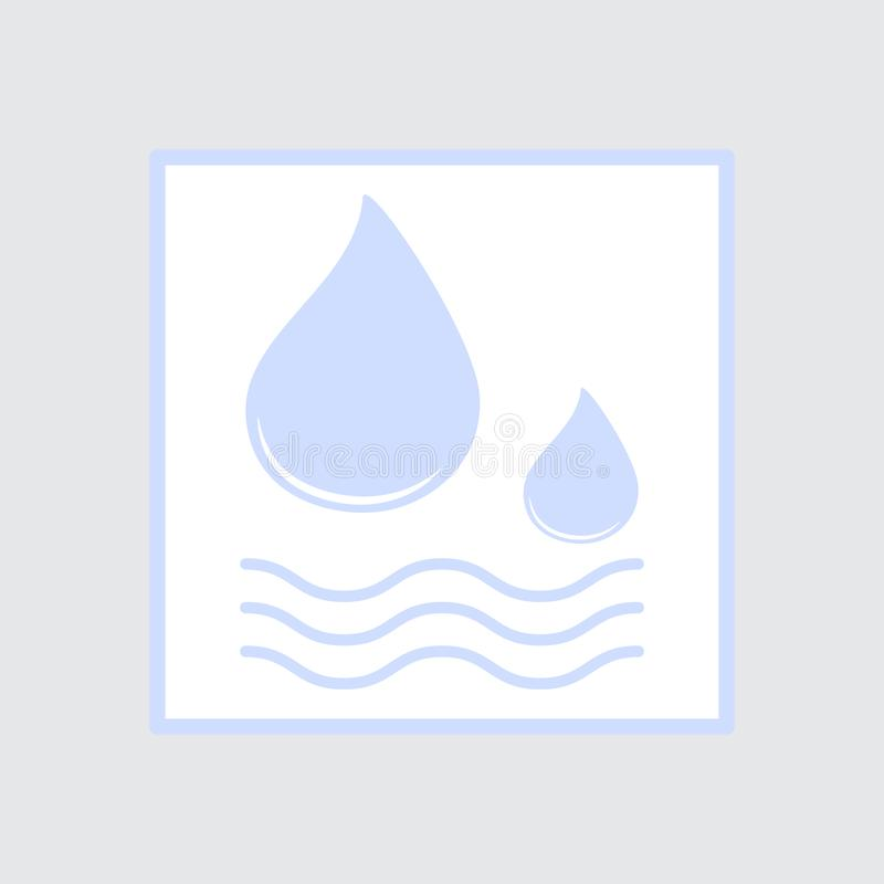 Sticker with Waves of water and Drops for illustration of liquid, water, rain and dampness. Symbol of aqua leakage. Colored flat icon, vector design vector illustration