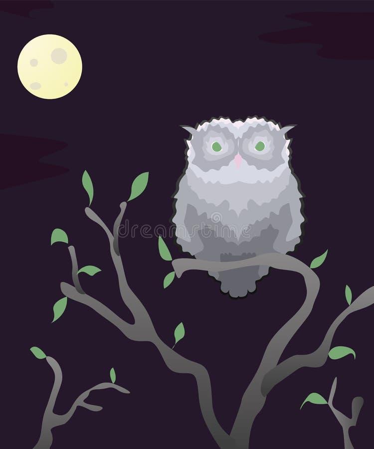 Sticker wilde grijze uilen bij nacht met de maan op een bloeiende tak vector illustratie
