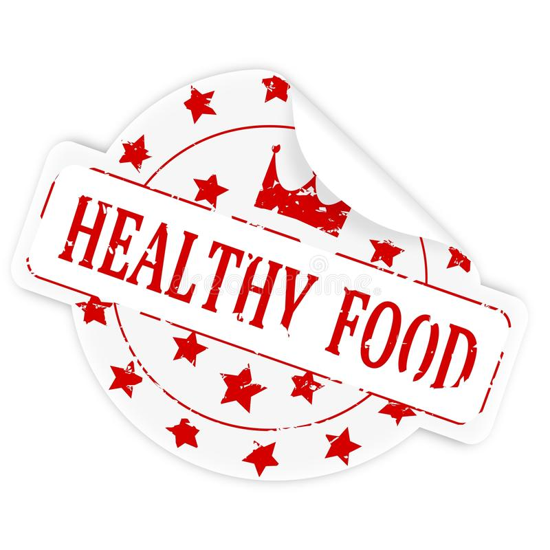 Sticker with the words healthy food. White sticker with a bent corner and the words healthy food - illustration royalty free illustration