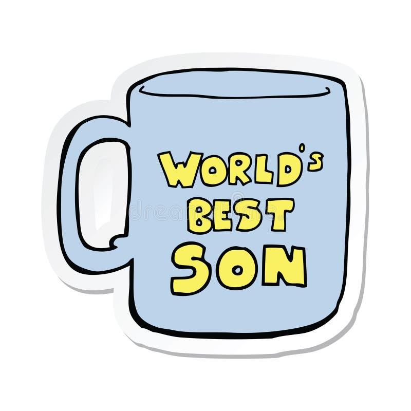 sticker of a worlds best son mug royalty free illustration