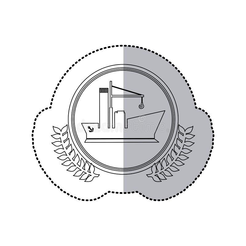 Sticker zwart-wit met halve schaduw en boot met kraan in rond kader met kroon van bladeren royalty-vrije illustratie