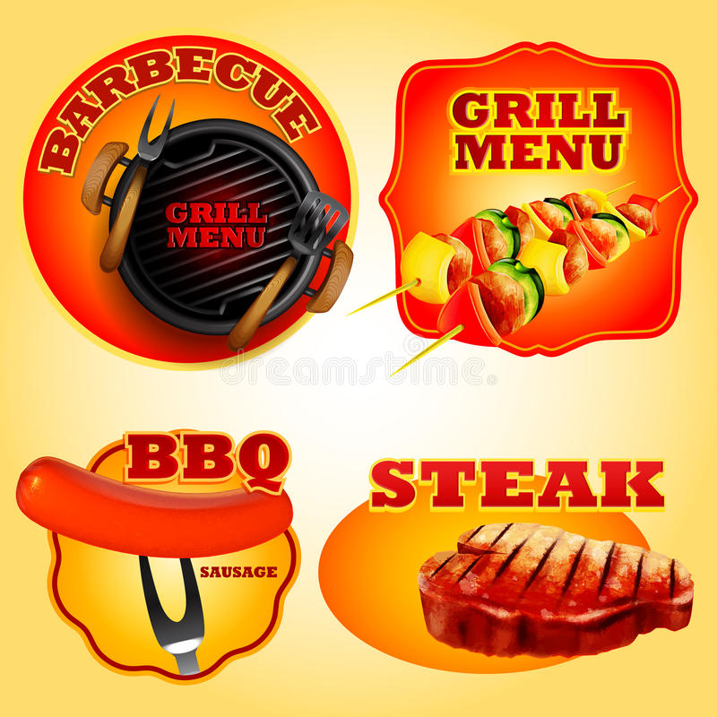 Stickerbbq stock illustratie