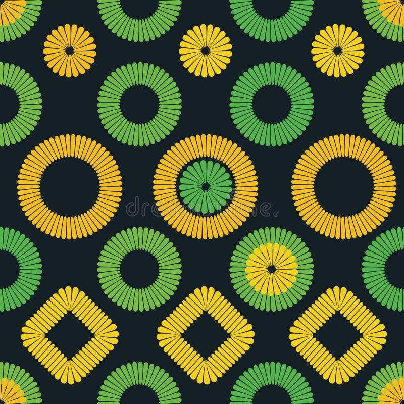 Stickerei ähnliches Volksmuster des Vektors mit Kreisquadraten und -blumen vektor abbildung
