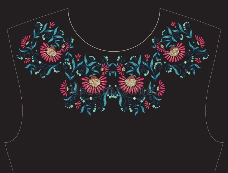 Stickerei für Ausschnitt, Kragen für T-Shirt, Bluse, Hemd stock abbildung