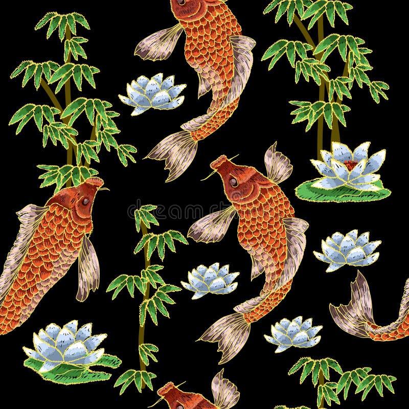 Stickerei mit japanischem Karpfen und Blumen lizenzfreie abbildung