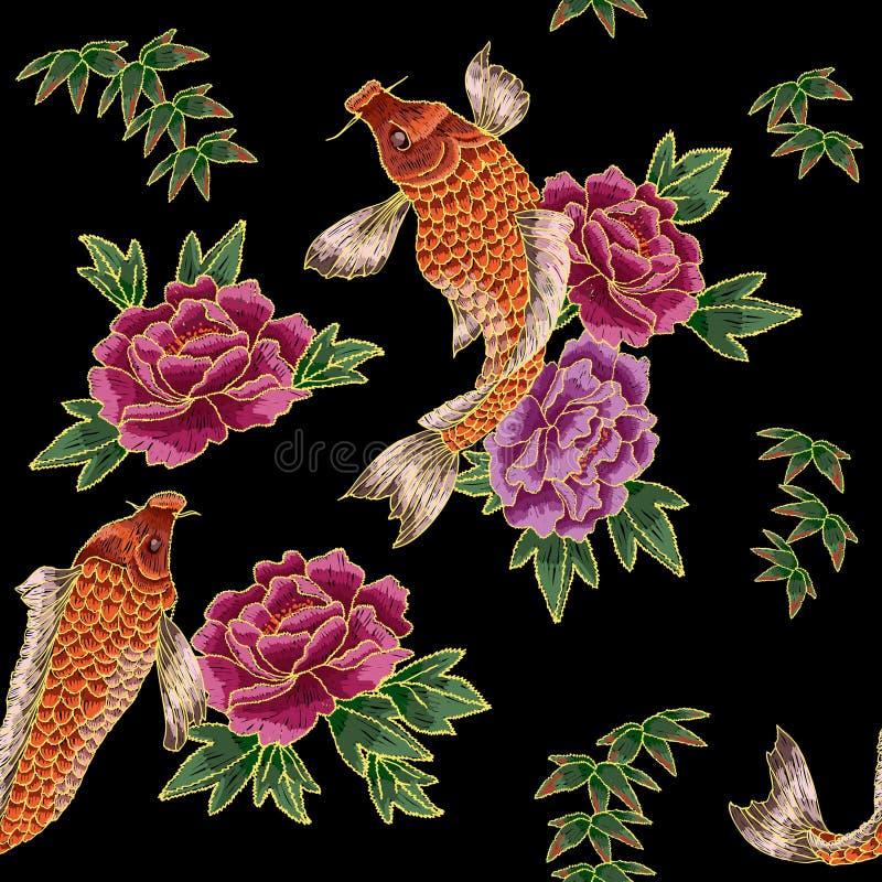 Stickerei mit japanischem Karpfen und Blumen stock abbildung