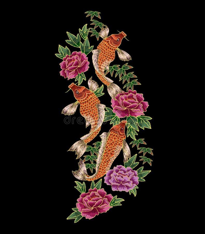 Stickerei mit japanischem Karpfen und Blumen vektor abbildung