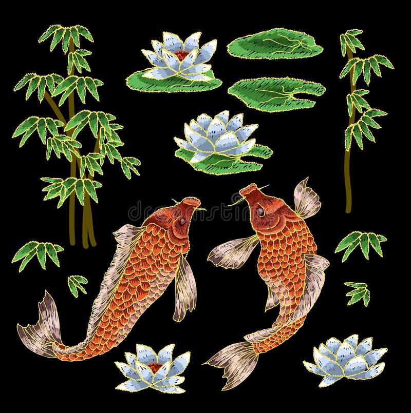 Stickerei mit traditionellem japanischem Karpfen und Blumen stock abbildung