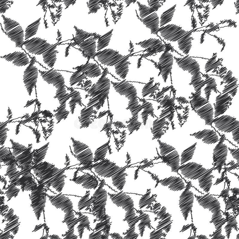 Stickerei, Schwarzblätter auf weißem Hintergrund Vektor vektor abbildung