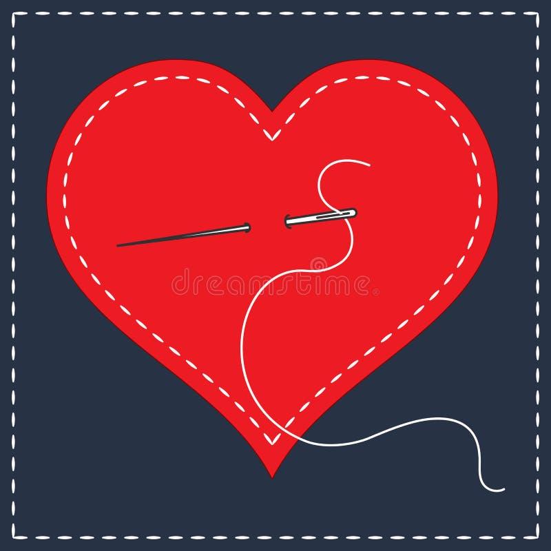 Stickerei Stylization mit Stichen Eine Vektorillustration des genähten Herzens, Nadel mit Thread Hintergrund für Valentinsgrußtag vektor abbildung
