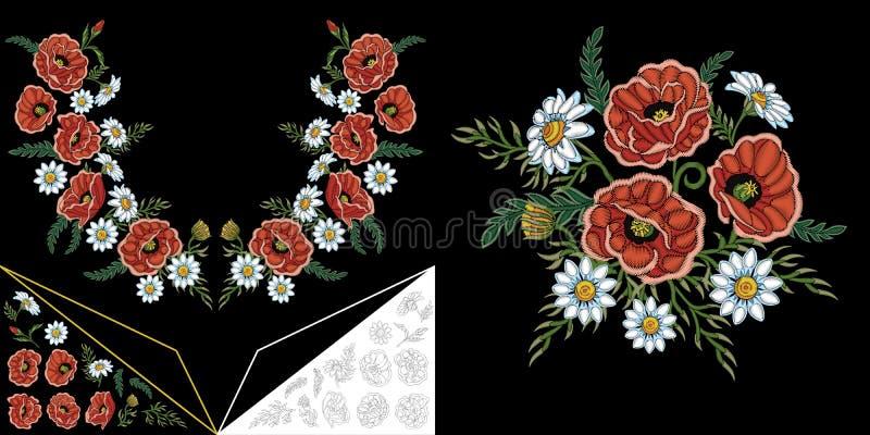 Stickereiblumenausschnittdesign stock abbildung