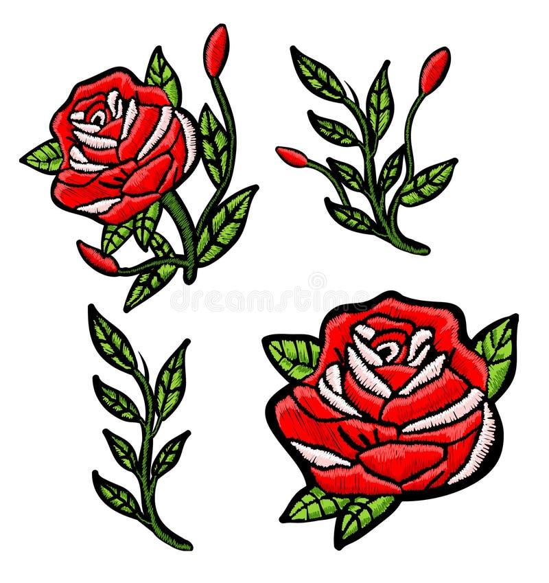 Stickereiflecken der roten Rosen lizenzfreie abbildung