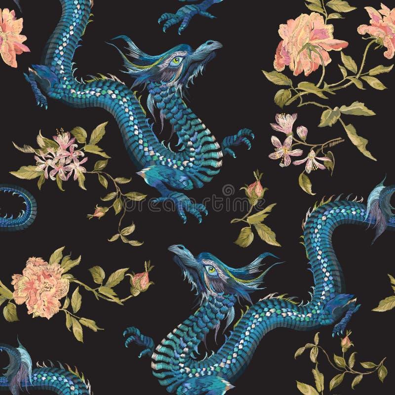 Stickereiorientalisches Blumenmuster mit Drachen und Goldrosen stock abbildung