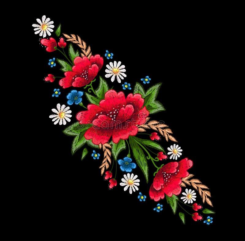 Download Stickereistiche mit Blumen vektor abbildung. Illustration von fashion - 90237606