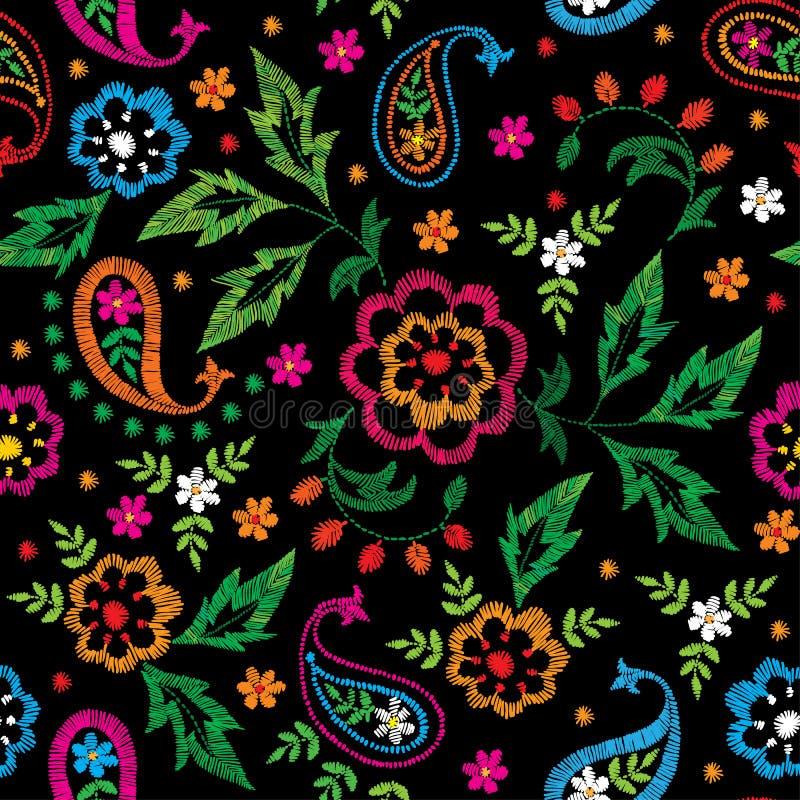 Stickereivektornahtloses dekoratives Blumenmuster, Verzierung für Textildekor Böhmischer handgemachter Arthintergrund vektor abbildung