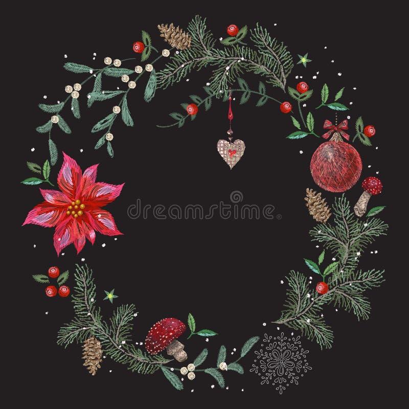 Stickereiweihnachtsmuster mit Blumen, Kiefer und Ball lizenzfreie abbildung