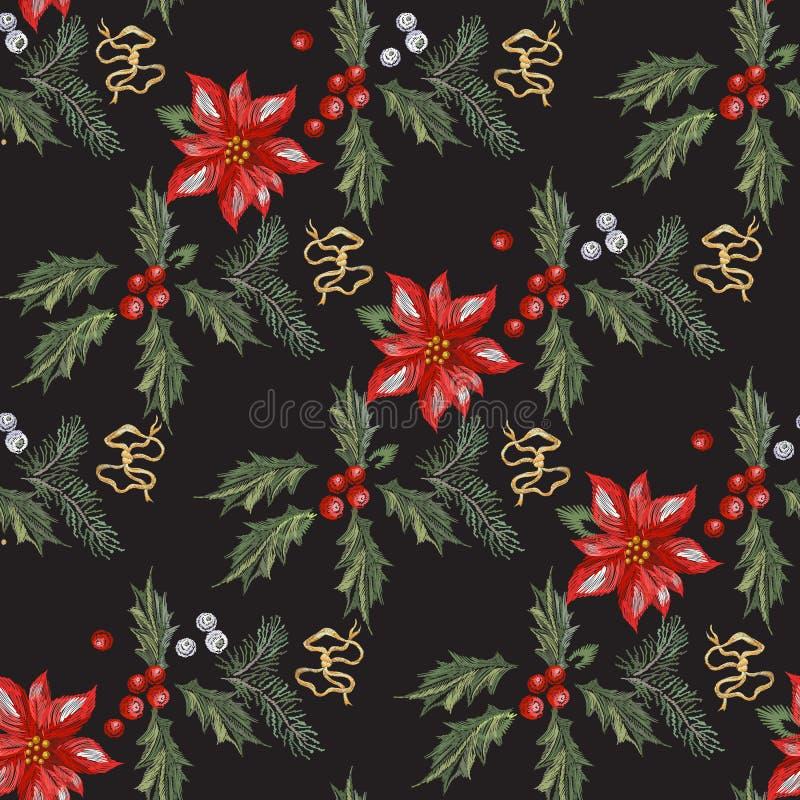 Stickereiweihnachtsnahtloses Muster mit roten Blumen, Kiefer und Mistelzweig stock abbildung