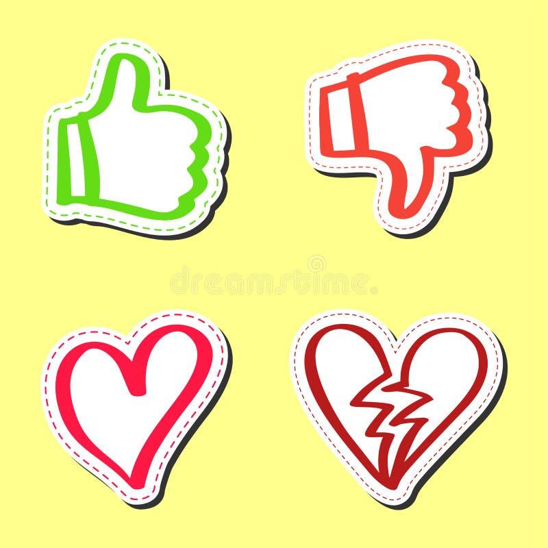 Stickerhand getrokken reeks, als en afkeer royalty-vrije illustratie