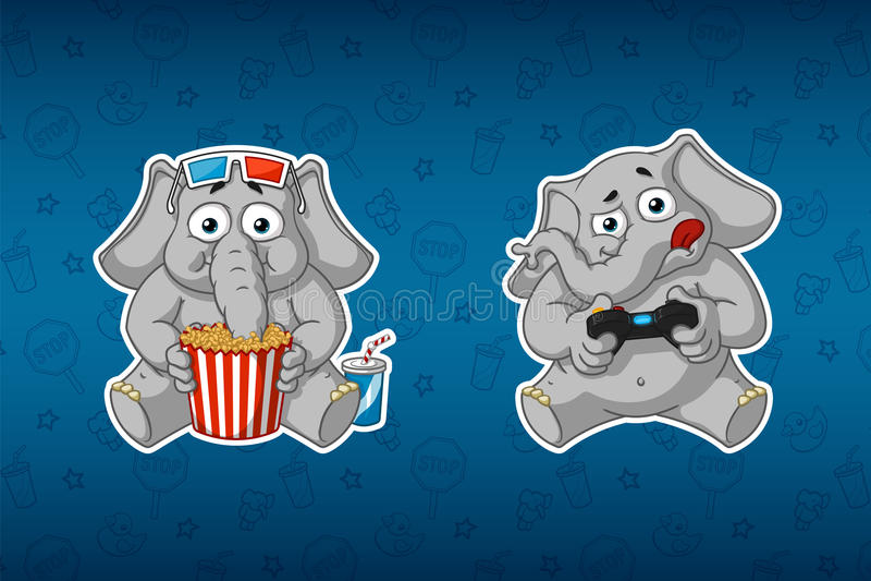 Stickerolifant Hij let op een film en speelt in de console 3D Glazen Gamepad Grote reeks stickers stock illustratie