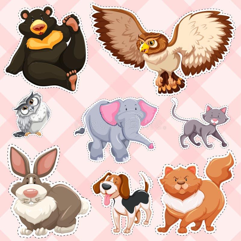 Stickerontwerp voor wilde dieren op roze achtergrond royalty-vrije illustratie