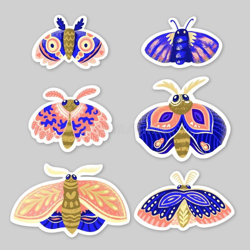 Stickerreeks decoratieve motten in blauwe, roze en gouden kleuren vector illustratie