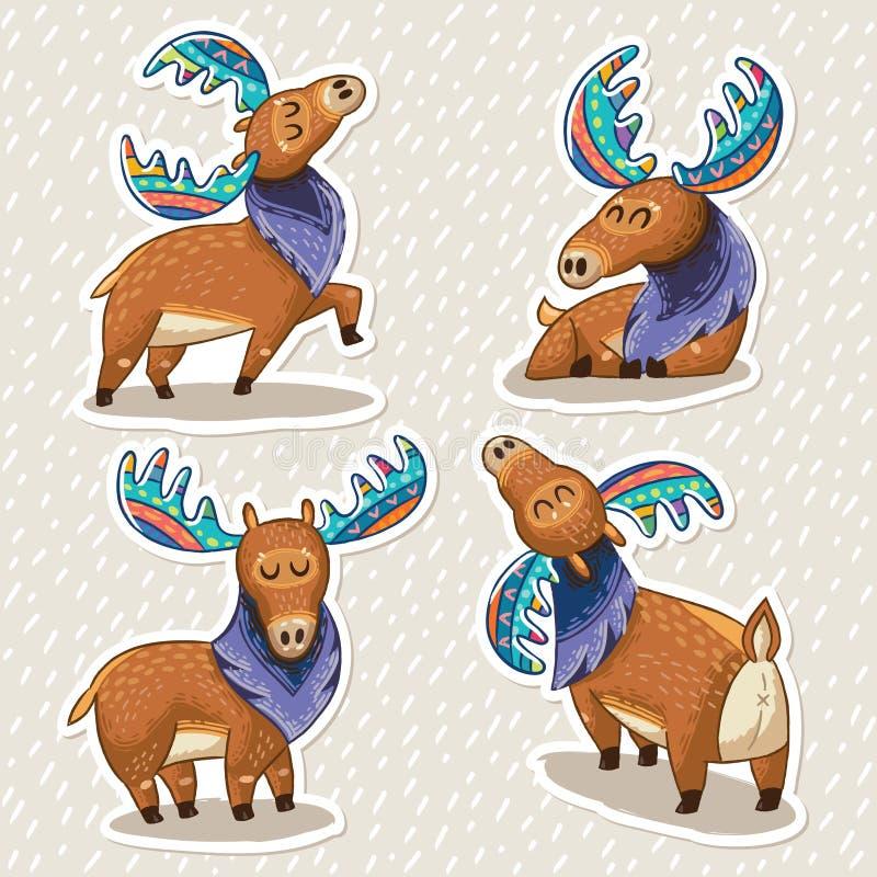 Stickerreeks leuke beeldverhaalhand getrokken elanden royalty-vrije illustratie