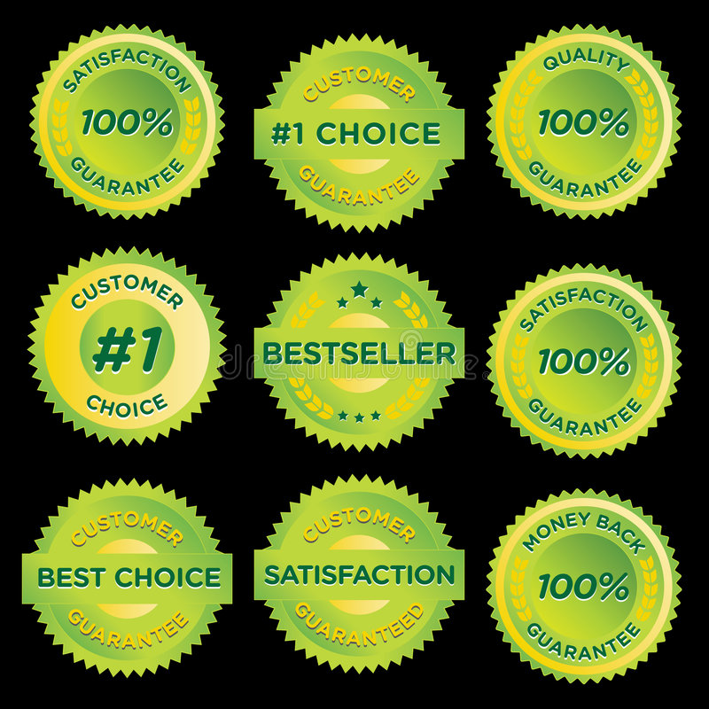 Stickers. Vector set of green certificate stamps for products royalty free illustration