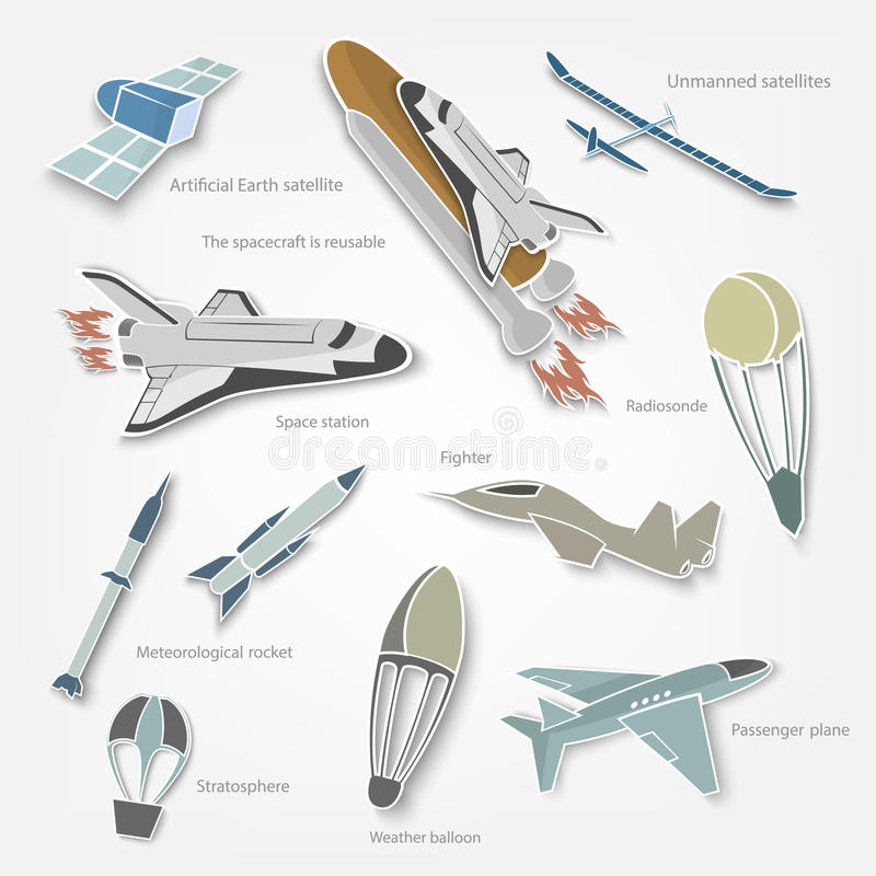 Stickers aircraft in the sky and space, with shadow. On white background vector illustration