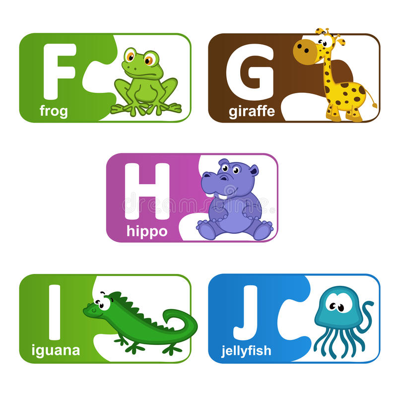 Stickers alphabet animals from F to J stock illustration