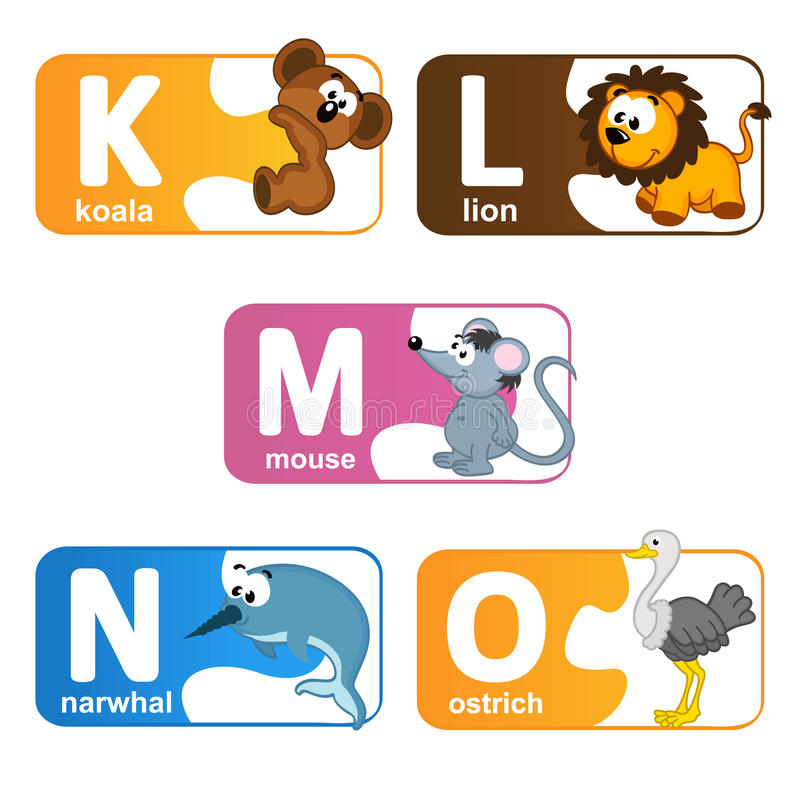Stickers alphabet animals from K to O royalty free illustration