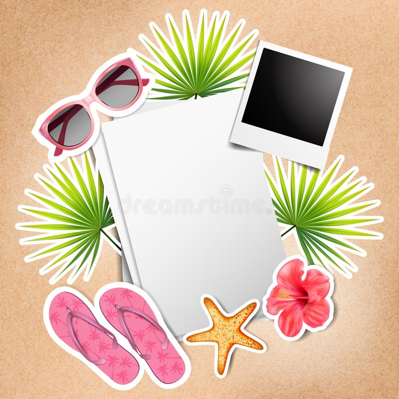 Stickers with beach elements and empty paper. Vector stock illustration