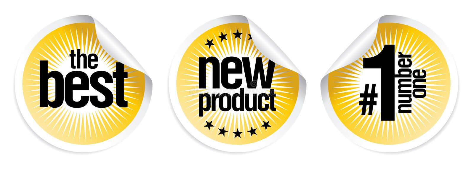 Stickers for best new products. Stickers set for best new products stock illustration