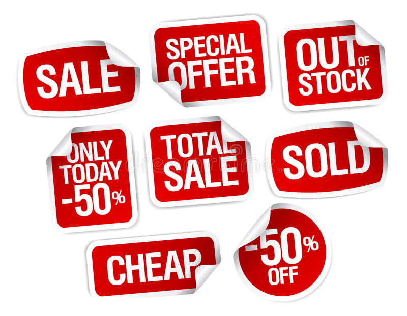 Stickers for best stock sales. Set of stickers for best stock sales