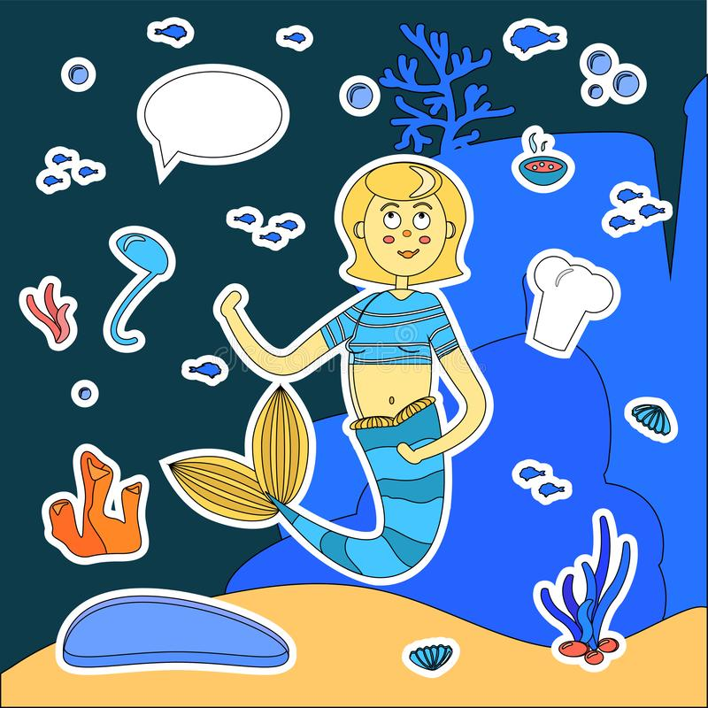 Stickers cartoon mermaid cook. soup ladle, chef cap, speech bubble, plate, food. Character siren, algae, fish, shells. Stickers cartoon mermaid cook. Soup ladle royalty free illustration