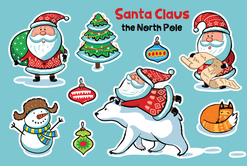 Stickers collection with cartoon Santa Claus royalty free illustration