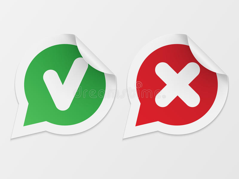 Stickers with consent and denial vector illustration