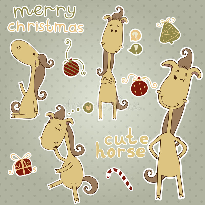 Stickers with cute christmas horse. Cartoon animal stock photography