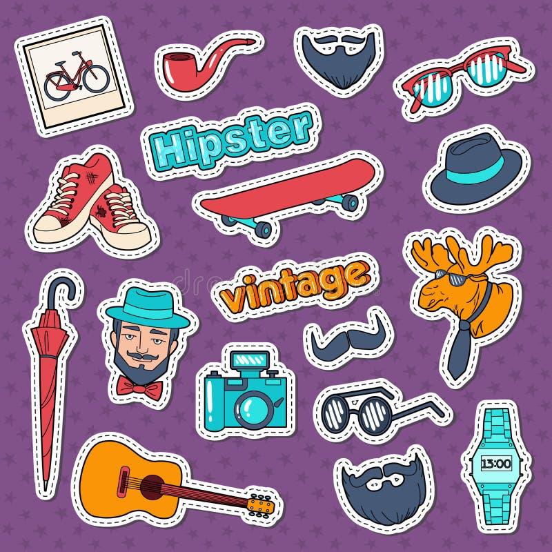 Stickers, de Kentekens en de Flarden van de Hipsterstijl de Uitstekende met Baard, Snor en Retro Elementen stock illustratie