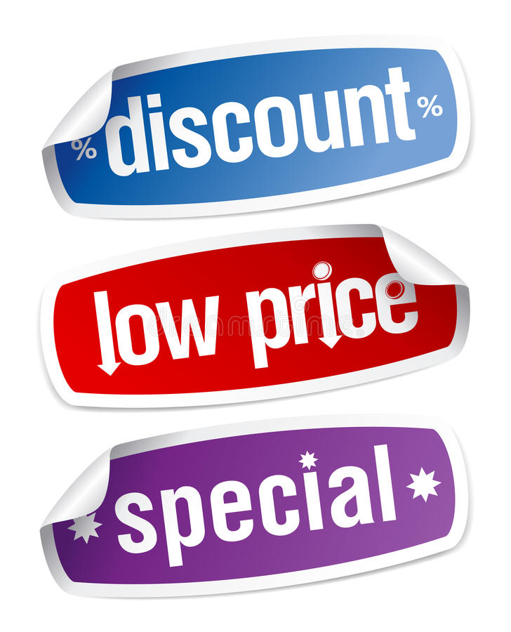Stickers for discount sales. Set of stickers for discount sales