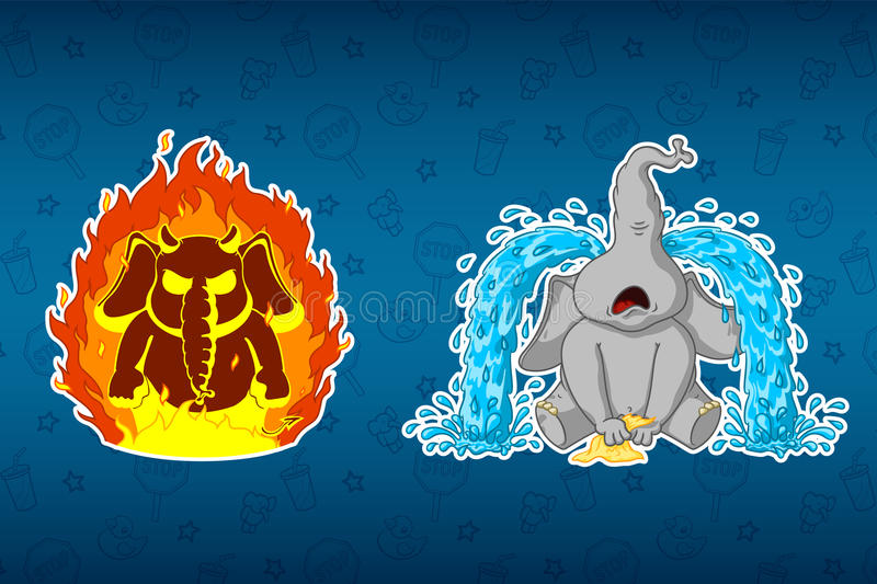 Stickers elephants. Angry, he`s on fire. Sobs, big tears. Big set of stickers. Vector, cartoon stock illustration