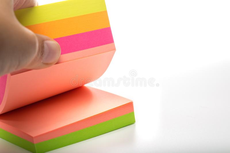 stickers Etiquetas engomadas multicoloras en un blanco foto de archivo