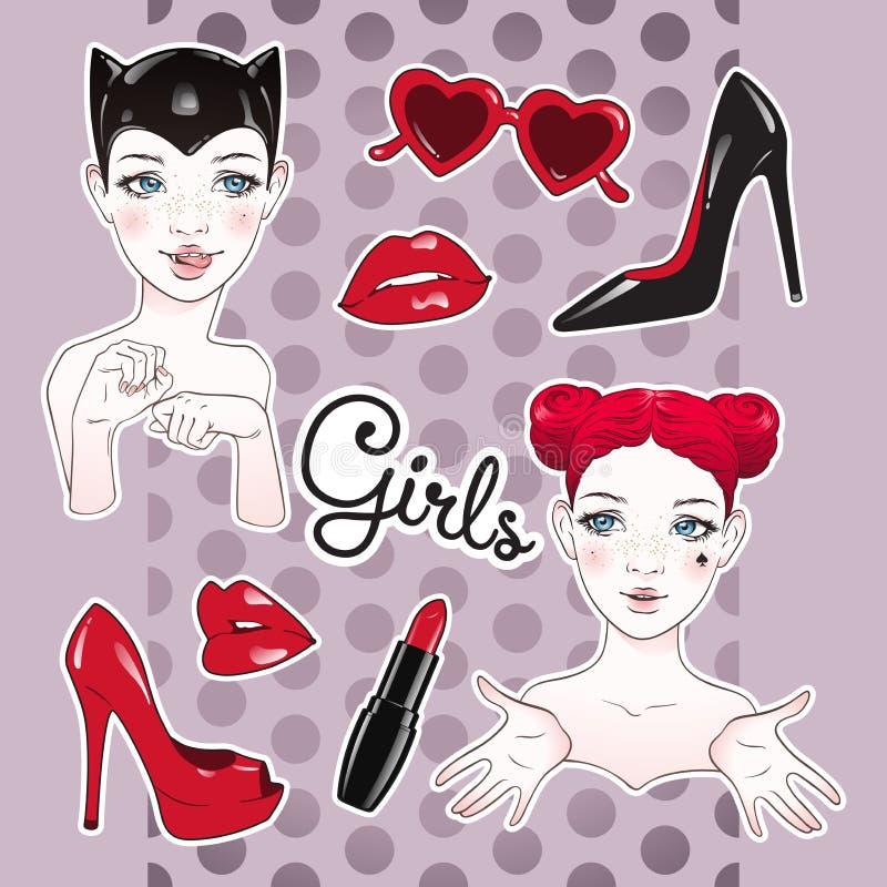 Stickers geplaatst beeldverhaalmeisjes en toebehoren - hoog gehielde schoenen, hart gevormde glazen, glanzende lippen en lippenst vector illustratie